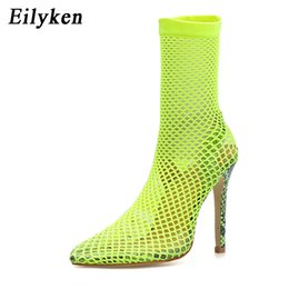 hole mesh shoe Coupons - Eilyken Fluorescent greent Women Pointed Toe Mesh Holes Sandals Sexy Summer Shoes Breathable Cool OL Party High Heel Ankle Boots