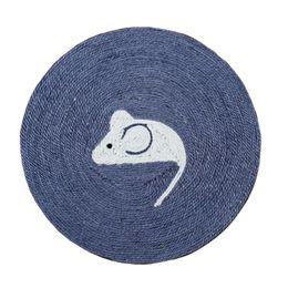 коврики для мыши для кошки Скидка Cartoon Mouse Pattern Sisal Rope Scratcher Cardboard Scratching Pad for Cat