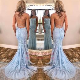 2019 Yeni Işık Sky Blue Seksi Spagetti Sapanlar Mermaid Gelinlik Modelleri Dantel Backless Abiye Kadınlar Partisi Törenlerinde Ucuz BC0694 cheap sky light dresses party nereden gökyüzü ışığı elbiseler partisi tedarikçiler