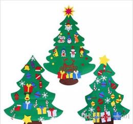 2019 kinder weihnachten ornamente Weihnachten Kinder Filz Weihnachtsbaum mit Ornamenten Weihnachtsgeschenk DIY Tür Wandbehang Dekor günstig kinder weihnachten ornamente
