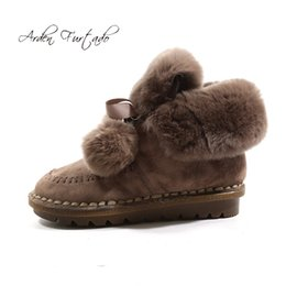 Arden Furtado 2018 autunno inverno stivali da neve pelliccia punta tonda scarpe donna scarpe donna stivaletti grigio kaki nero taglia large 41 da