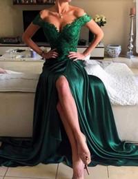 Robe de soirée longue en satin vert foncé à épaules dénudées avec appliques de dentelle 2019 ? partir de fabricateur