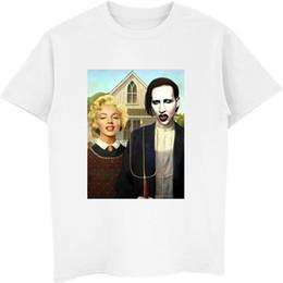 2019 camisas marilyn manson 2019 Marilyn Monroe camiseta Manson gótico americano divertido Glamour Vogue nueva de la manera camiseta de los hombres Vintsge tes de las tapas Camiseta Mujer camisas marilyn manson baratos
