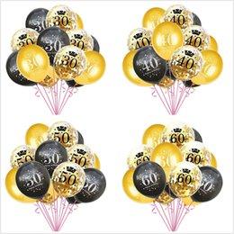 2019 vestiti da filo 15pcs / set Confetti Balloons numero 16 18 30 40 50 60 70 80 90 anni Festa di compleanno ballon digitale Latex Globos