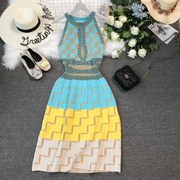 free knit patterns Coupons - 2019 new women's halter neck colorful geometric print pattern high waist a-line sleeveless maxi long knitted dress