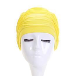 Gorro de pelo de nylon online-Mujeres Niñas Gorro de baño Sombrero Orejeras para el cabello Anti-UV Nylon Playa Piscina Natación Buceo Ruffle Cap Hat
