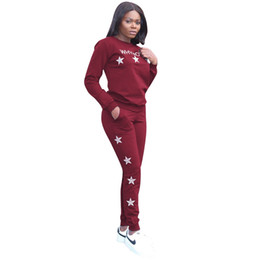 Tracksuit Women Star Print O-Neck Full Sleeve Fashion Woman Set 2 Two Pieces  Suits Casual Nightclub Sportswear Sets 2ec60675d