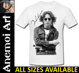 lennon l Promotion T683 Signé John Lennon Autograph Signature chemise tee tee shirt The Beatles cadeau Drôle livraison gratuite Unisexe Tshirt top