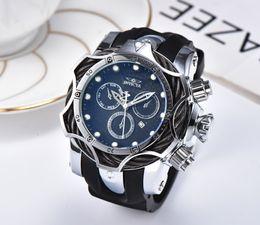 Dom automóveis on-line-19 Invicta luxo ouro mostradores de relógio de trabalho homens esporte de quartzo relógios cronógrafo auto data elástico relógio de pulso para presente masculino
