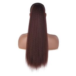 парики для наращивания волос Скидка Women Drawstring Kinky Straight Bun Seamless Headwear Corn Wigs Ponytail Tied Afro Clip In Synthetic High Puff Hair Extensions