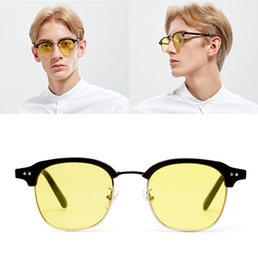 brown tinted sunglasses Promo Codes - JackJad 2017 New Fashion Half Frame Style Tint Ocean Lens Sunglasses Vintage Rivets Brand Design Sun Glasses Oculos De Sol X1290