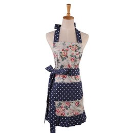 aprons flowers Promo Codes - New Women Restaurant Home Kitchen apron Flower And Leaves Printed Pocket Lace Cooking Cotton Apron High Quality Pleated