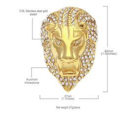 Silberamerikanische männer diamantringe online-Europäischer und amerikanischer Hip-Hop-Edelstahlring mit vakuumbeschichtetem Löwenkopf mit großem Durchmesser