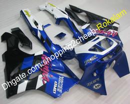 Kawasaki ninja zx6r 1995 on-line-Azul Branco Preto ZX6R Carenagens Para Kawasaki Ninja ZX 6R 94 95 96 97 ZX6R ZX-6R 1994 1995 1996 1997 ABS Carenagem Kit