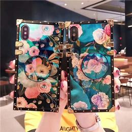 Canada Luxe Blue Ray Flower rose carrée en silicone cas de téléphone pour iphone 7 8 S 6 plus X XR XS Max housse de support pour samsung S8 S9 Note9 cheap iphone cover square silicone Offre