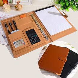 Lederorganisatoren planer online-Großhandel-RuiZe Leder Ordner Padfolio Multifunktions Organizer Planer Notebook Ringbuch A4 Datei Ordner mit Taschenrechner Bürobedarf