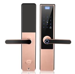 Puerta de vidrio de bloqueo online-Una cerradura de huella digital de mano cerradura de puerta inteligente puerta de vidrio automática cerradura antirrobo WIFI contraseña electrónica casa