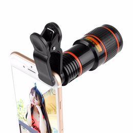 2020 lente de zoom 12x teléfono móvil Telescopio óptico con zoom 12x Teleobjetivo portátil Teleobjetivo Lente y clip para iPhone / Samsung / Huawei / Xiaomi lente de zoom 12x teléfono móvil baratos
