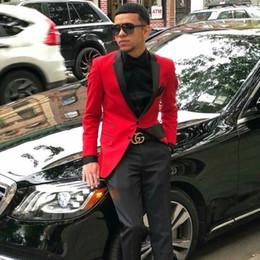 Vestiti maschi rossi prom online-Ultimi Disegni Red Mens Sposo Abiti da sposa Uomo Blazer Prom Party Sposo Blazer Maschio Smoking Costume Homme 2 Pezzi Terno Masculino