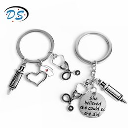 tools pendants Promo Codes - dongsheng jewelry Doctor Medical Tools Stethoscope Syringe Pendants Key Chains Nurse Medical students Gifts Keychain llaveros