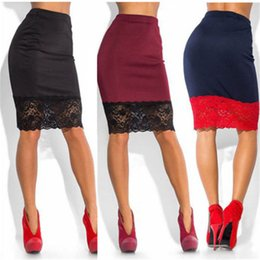 Сексуальная юбка горячих девушек онлайн-Hirigin Hot Sale Sexy Women Formal Stretch High Waist Lace Mini Skirts Fashion Pencil OL Ladies Outwear Girls Skirts Wholesale