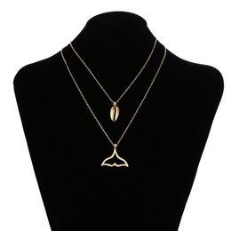 Collar de aleación bohemia online-Moda bohemia hembra aleación de metal hueco forma de cola de pez collares de concha colgante mujer oro plata collar de cadena larga en capas