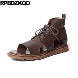 2019 bottes plates ouvertes 2018 sandales plates respirant bottes en cuir véritable designer chaussures hommes de haute qualité de luxe à bout ouvert brun japonais été casual bottes plates ouvertes pas cher