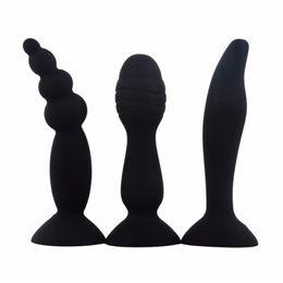 2019 perlas masculinas 5 colores de silicona consolador anal perlas de succión Butt Plug Stopper G-Spot estimula el sexo anal para mujeres Masturbador masculino rebajas perlas masculinas