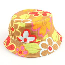 Sombrero de paja para bebé niño online-Diseñador Bebé de dibujos animados Imprimir Bucket Sombrero para el sol Floral Niños Verano Panamá Gorras Bebé niñas Pescador Sombrero de paja Niños Niños Topee cap 2-6Years