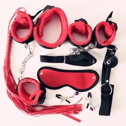 pinces de tétons de trèfle japonaises Promotion 7pcs en nylon en peluche jouets érotiques sexe adultes menottes sexe fouet bouche bâillon sexe masque bdsm bondages ensemble