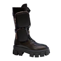 2019 botines de cuña desnudos desinger de lujo libre del envío mujeres Zapatos de cuero reales de los grils de zapatos Monolito Mini bolsa de la rodilla alta de arranque de arranque de engranajes talón grueso del envío gratis