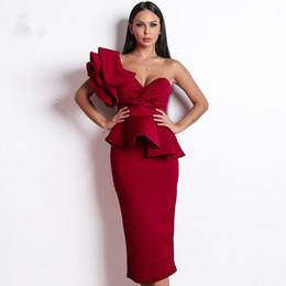 Mujeres 2019 Sexy Bodycon Off hombro vendaje vestidos mujer volantes Backless elegante Club vestido Vestido ropa de mujer desde fabricantes