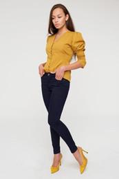 2019 jeans de lycra Gethit Mujer de cintura alta Lycra Tight Trotting Jean 19Y630010 jeans de lycra baratos