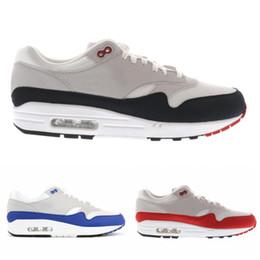 Обувь для мужчин онлайн-Brand New 87 Кроссовки Спортивная Обувь Мужчины Женщины Подушка Обувь 87 s Синий Красный Спортивные Кроссовки Размер 36-44