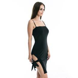 Ombro vestido vestido bandagem on-line-Preto Vermelho Slip Dress Side Dividir Cintas de Ombro Vestido Sexy Leg Bandage Vestido de Festa Vestidos para As Mulheres Roupas de Verão 220111