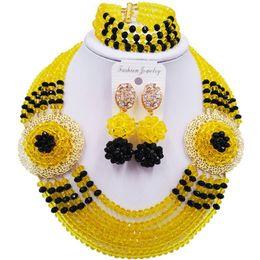 Set di gioielli in rosa giallo online-Bella giallo nero africano nigeriano perline di cristallo set di gioielli da donna 6C-SPHJZ-29
