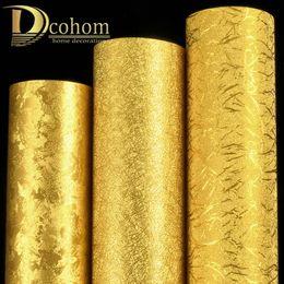 luxusfolie tapete Rabatt Luxus Metallic Gold Tapetenrolle Licht Reflektieren Wandverkleidung Glanz Goldfolie Vinyl PVC Tapeten Wohnkultur Waschbar