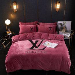 2019 juegos de cama luna estrellas Invierno espesan los amantes de la marca de ropa de cama sistemas de la letra Moda Hojas Pareja de moda imprimió el sistema Soft Touch Diseño Hombres Mujeres edredón cubre los sistemas