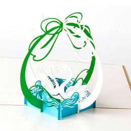 doni cigni amanti Sconti 3D pop-up carte d'epoca a taglio laser fatte a mano Swan Coppia regali creativi cartolina d'auguri di compleanno per gli innamorati
