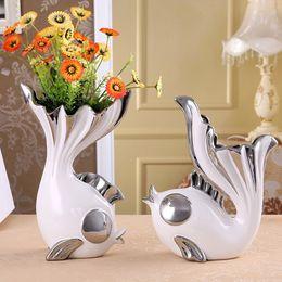 2 pezzi / set creativo forma di pesce design vaso di fiori decorativo per la casa vaso decorativo in ceramica per la sala da pranzo soggiorno ornamento artigianale da vasi da fiori in miniatura all'ingrosso fornitori