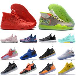 2019 chaussures kd orange Kevin Durant Drake Grey Hommes Chaussures de Basketball KD 12 11 KD 10 Hyper Turquoise BHM noir mois histoire baskets baskets de sport chaussures kd orange pas cher