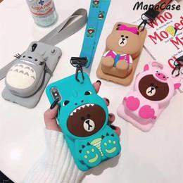 cartera linda coreana Rebajas Mytoto Cute 3D Korean Emoticon Package Bear Rabbit Totoro Wallet Funda para teléfono para iPhone X XS MAX XR 6 6s 7 8 Plus para cubierta de gel de sílice