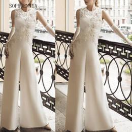 combinaisons perlées Promotion Robe de soirée Combinaison pour mariages Robe de soirée en dentelle appliquée aux pantalons pour femmes 2019