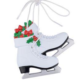 ornamento livre da sapata Desconto Menina Sapatos De Patinação No Gelo Polyresin Brilhante Personalizado Enfeites De Árvore De Natal Livre Escrever Nome Personalizado Presentes de Presente de Natal