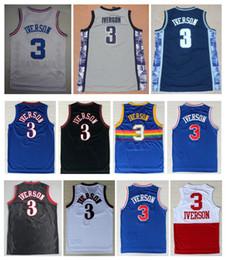 Venta al por mayor online-2019 hombres baratos al por mayor # 3 Allen Iverson jerseys negro gris azul rojo baloncesto Jersey bordado Logos Iverson camisas envío gratis