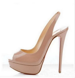 Роскошные туфли на каблуках онлайн-Фирменный дизайнер Mouth 14cm Red Bottom High Heels, Фирменные женские роскошные черные лакированные туфли на платформе Сандалии, блестящие кожаные туфли