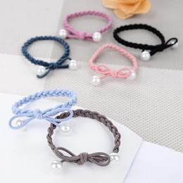 Deutschland Bow Perle Haarring, Haar Seil, Kopfbedeckungen, Gummiband gebunden Seil, einfache Damen Gummiband Haarschmuck Kopf Seil, kleine Accessoires Versorgung