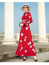 2019 neue frühlingsfrauen polyester mode plus größe dot print schlank dress langarm rollkragen knöchellangen casual frau kleider dz2087 von Fabrikanten