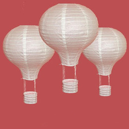 2019 lanterne di carta decorazione bianca Bianco Hot Air Balloon Lanterna di carta Lanterna cinese che desiderano Decorazioni per bambini Festa di compleanno per la casa Forniture 10/12/16 pollici ZC0293 sconti lanterne di carta decorazione bianca