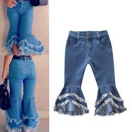 Jeans kinder mädchen mode online-Ins Baby Mädchen Flare Hosen Denim Quasten Jeans Leggings Strumpfhosen Kinder Designer Kleidung Hose Mode Kinderkleidung RRA1949